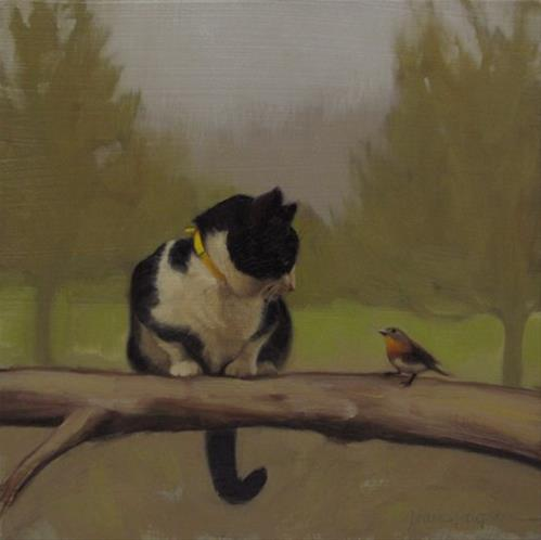 """The Conversation, painting of cat and bird"" original fine art by Diane Hoeptner"