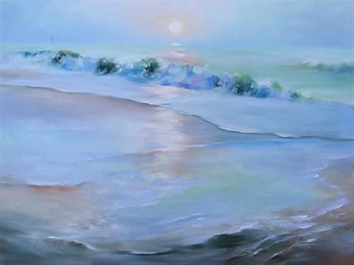 """SEASIDE SUNRISE, 18 x 24 Oil, Seascape"" original fine art by Donna Pierce-Clark"