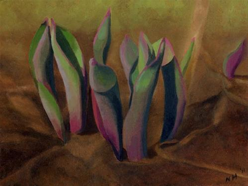 """Tulip Leaves"" original fine art by Nancy Herman"