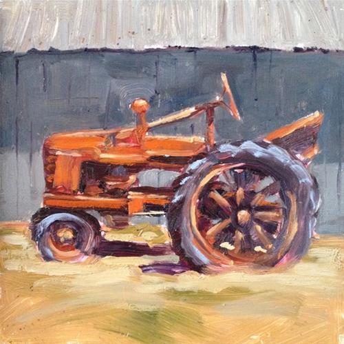 """Old Orange Tractor"" original fine art by Deborah Newman"