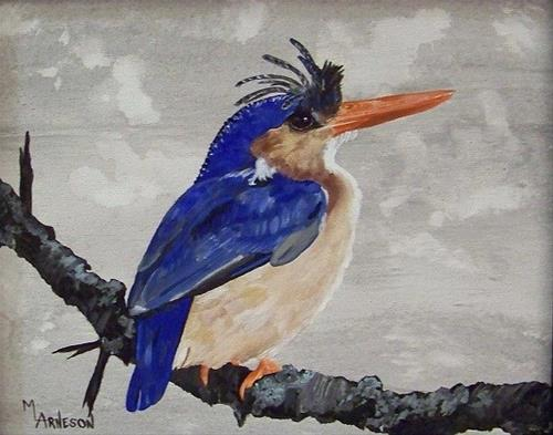 """Wildlife Bird Art Painting Kingfisher by Mary Arneson Art-Works of Whimsy"" original fine art by Mary Arneson"