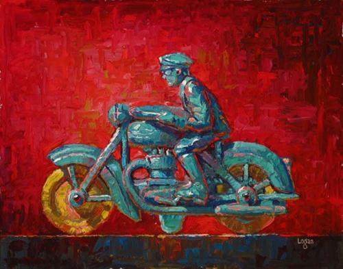 """J's Toy Motorcycle"" original fine art by Raymond Logan"