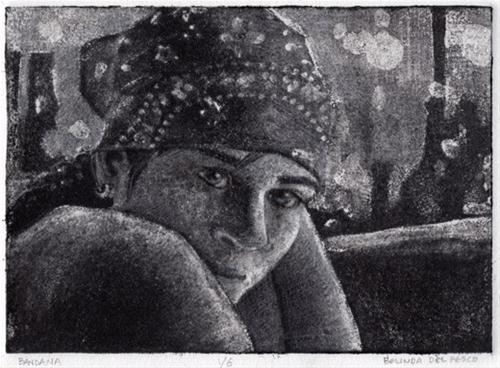 """Silk Aquatint: Bandana"" original fine art by Belinda Del Pesco"