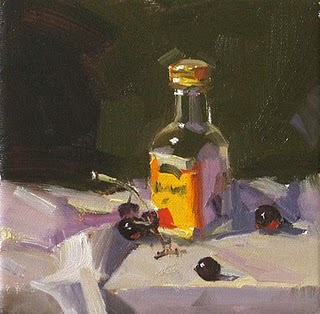 """Bottle and Grapes --- Sold"" original fine art by Qiang Huang"