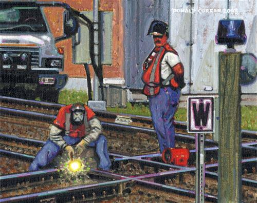 """Train Track Workers"" original fine art by Donald Curran"