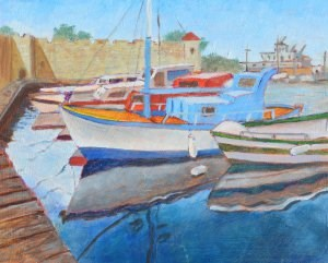 """Greek Fishing Boats"" original fine art by Robert Frankis"