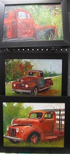 """Three Old Ford Trucks"" original fine art by Barbara Haviland"