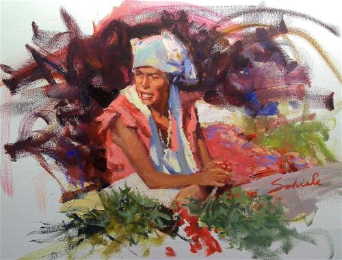 """Mexican market"" original fine art by Richard Schiele"