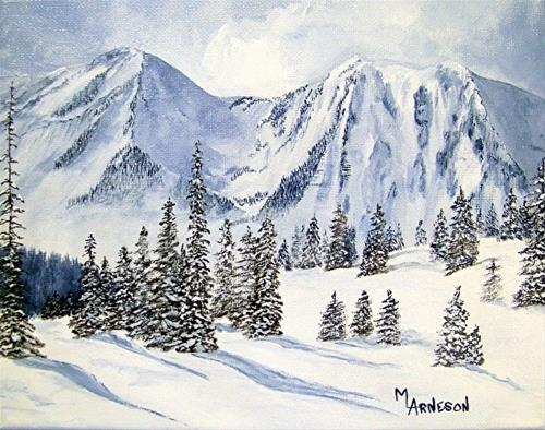 """Contemporary Landscape  Art Painting When Winter Comes by Mary Arneson Art-Works of Whimsy"" original fine art by Mary Arneson"