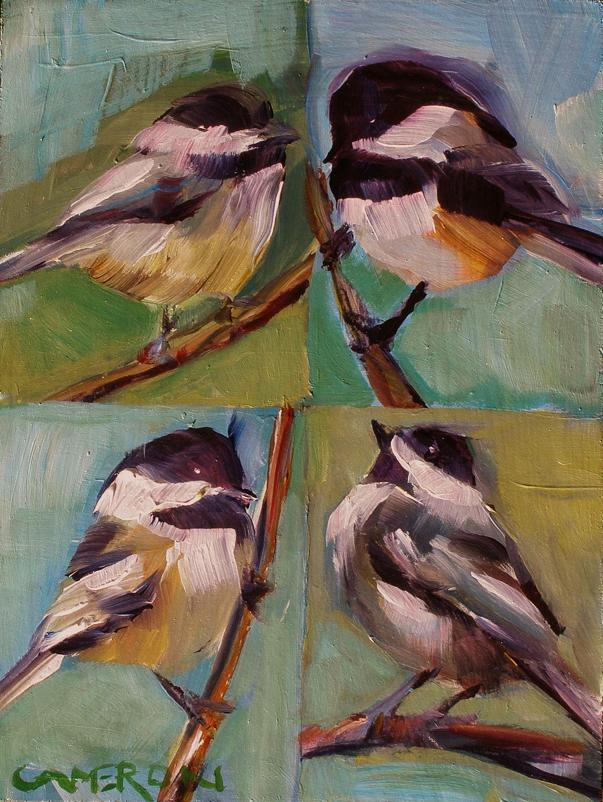 """FOUR BLACK CAPS"" original fine art by Brian Cameron"