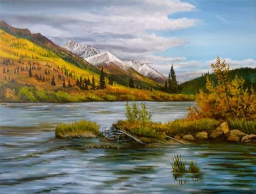 """Back Channel, Lapie River the South Canol"" original fine art by Jackie Irvine"