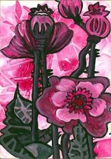 """Magenta Flower"" original fine art by Kara Butler English"