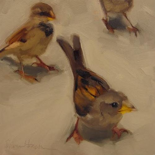 """The Curious One painting of sparrows"" original fine art by Diane Hoeptner"