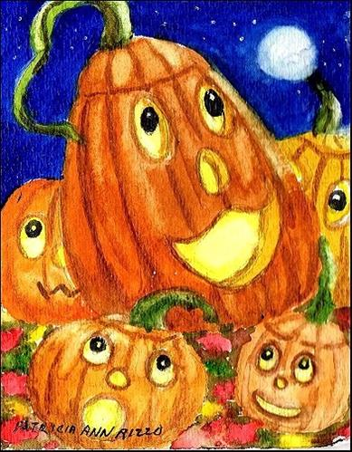 """Halloween Pumpkins"" original fine art by Patricia Ann Rizzo"