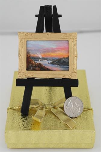 """Hudson River School Sunset 3 in Miniature — Jamie's Jewels"" original fine art by Jamie Williams Grossman"