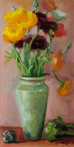 """Yellow and Purple Ranunculus in Gray Vase"" original fine art by Carol Steinberg"