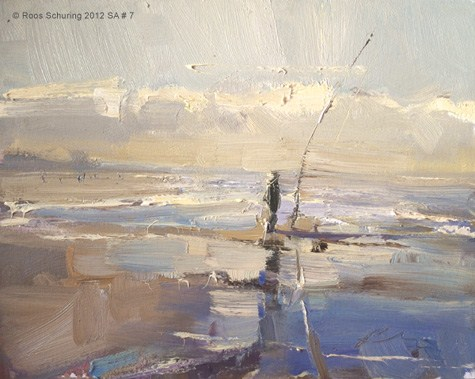 """Seascape autum #7 Fisherman in morning sun (available)"" original fine art by Roos Schuring"
