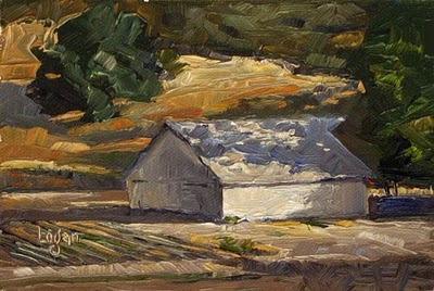 """Shadow Barn out on Huasna Road"" original fine art by Raymond Logan"