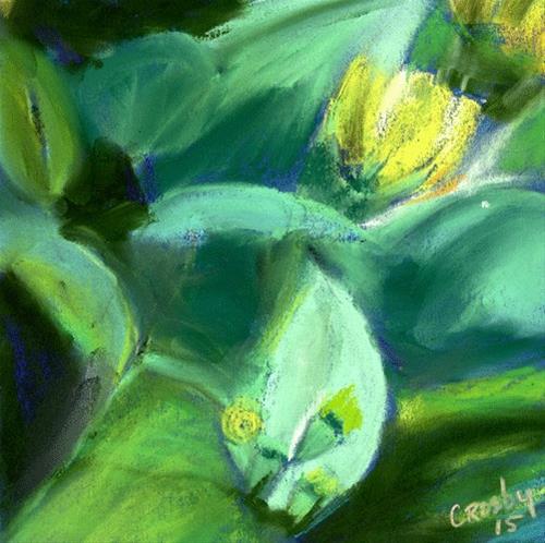 """Cactus Flower"" original fine art by Donna Crosby"