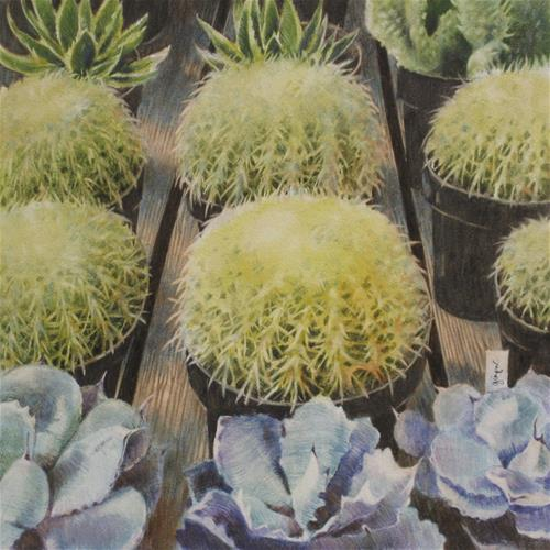 """Cacti for Sale"" original fine art by Ginger Pena"