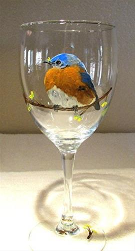 """Glass Art, Painted Wine Glass Blue Bird by Mary Arneson Art-Works of Whimsy"" original fine art by Mary Arneson"