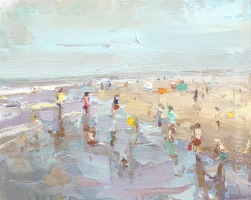"""""""Seascape Pleinair """"Invasion of the Tiny – Kids Crowding the Shoreline"""""""" original fine art by Roos Schuring"""