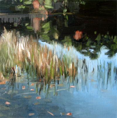 """Autumn Grass on Lake Monomanoc, NH"" original fine art by Michael William"