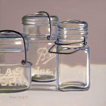 """Three Canning Jars"" original fine art by Nance Danforth"