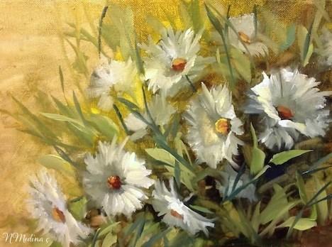 """""""Earth and Sky Daisies by Floral Artist Nancy Medina"""" original fine art by Nancy Medina"""