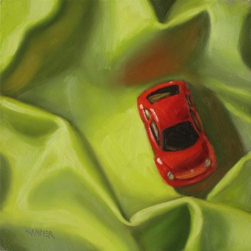 """""""Snug as a bug 6x6  oil on board"""" original fine art by Claudia Hammer"""