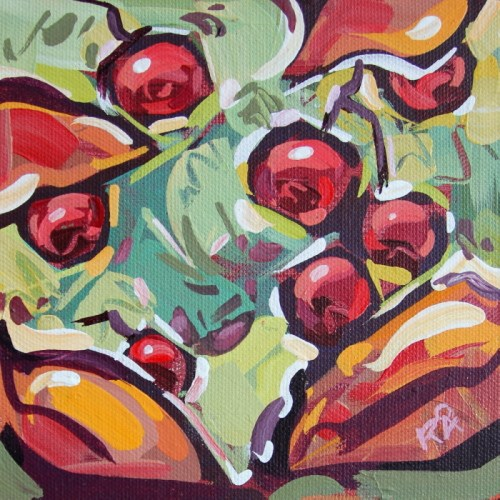 """Autumn Berry Abstraction 8"" original fine art by Roger Akesson"