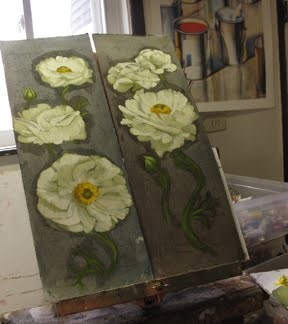 """Pinwheel Whites white flower paintings WIP"" original fine art by Diane Hoeptner"