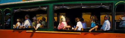 """Trolley Tour"" original fine art by Karin Jurick"