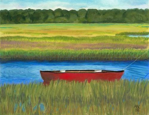 """Red Boat - Assateague Channel"" original fine art by Arlene Crafton"