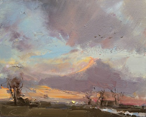 """Windy Evening Sky"" original fine art by Roos Schuring"