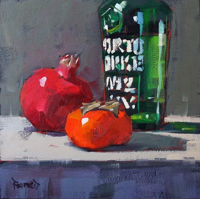 """Pom, Port, Persimmon"" original fine art by Cathleen Rehfeld"
