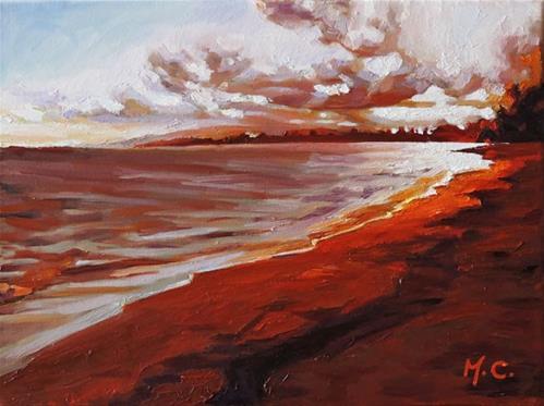 """""""Sun fall on sea"""" original fine art by Michelle chen"""