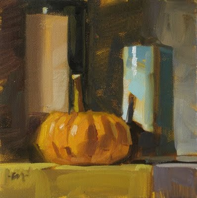 """Pumpkin Shadow"" original fine art by Carol Marine"