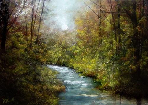 """Shady Stream II"" original fine art by Bob Kimball"