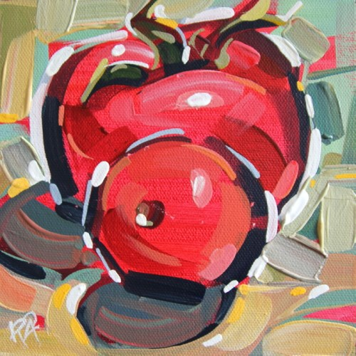 """Playful Tomato Abstraction 2"" original fine art by Roger Akesson"