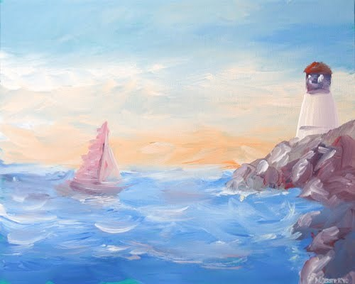 """Impressionist Sailboat at the Harbor near the Lighthouse Acrylic Painting"" original fine art by Mark Webster"