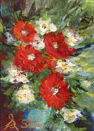 """3043 - RECEIVE - Flowers ACEO Series"" original fine art by Sea Dean"