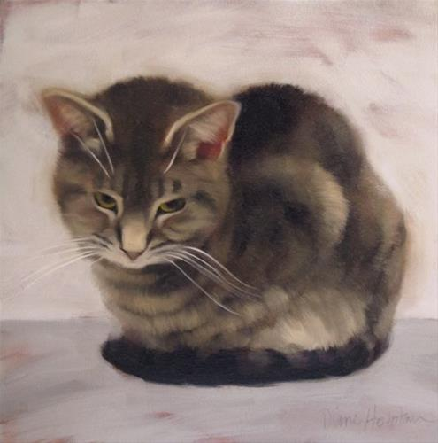 """Witness the impervious cat in a stoic pose"" original fine art by Diane Hoeptner"