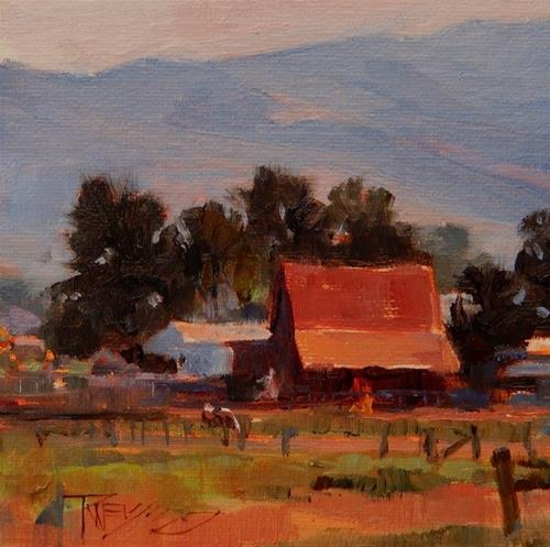 """Red Barn  mini, landscape painting by Robin Weiss"" original fine art by Robin Weiss"