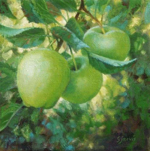 """""""Green Apples"""" original fine art by Susan N Jarvis"""