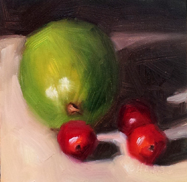 """Lime and Three Cranberries"" original fine art by Cindy Haase"