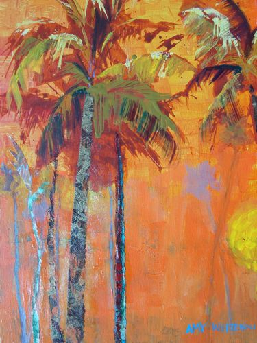 Favorite Palms, 16x20 Acrylic Painting of Palm Trees original fine art by Amy Whitehouse