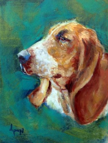 """Basset"" original fine art by Anne Marie Propst"
