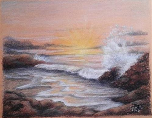 """Sunset on Rocky Beach"" original fine art by Camille Morgan"