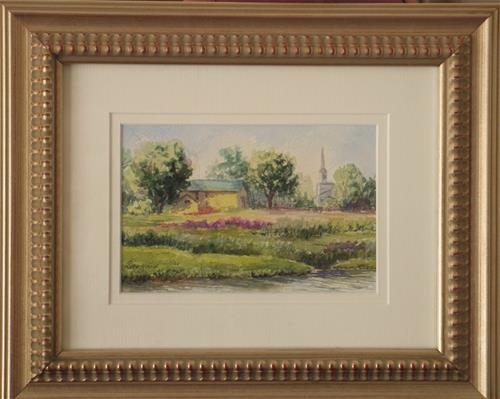 """Yellow Barns ~ framed"" original fine art by Vikki Bouffard"